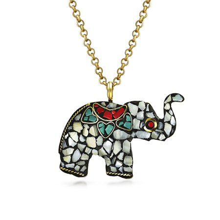- Brass Plated Mosaic Elephant Pendant Necklace