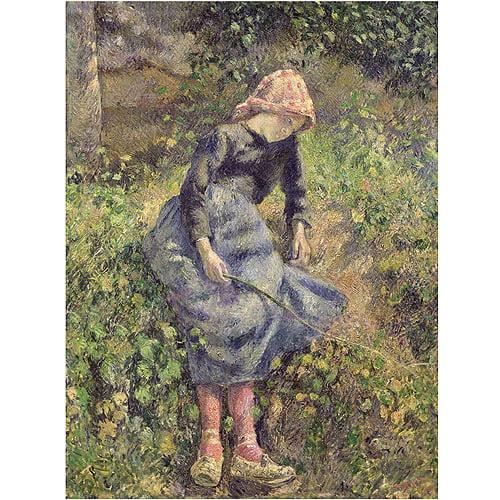 "Trademark Fine Art ""Girl with a Stick 1881"" Canvas Art by Camille Pissarro"
