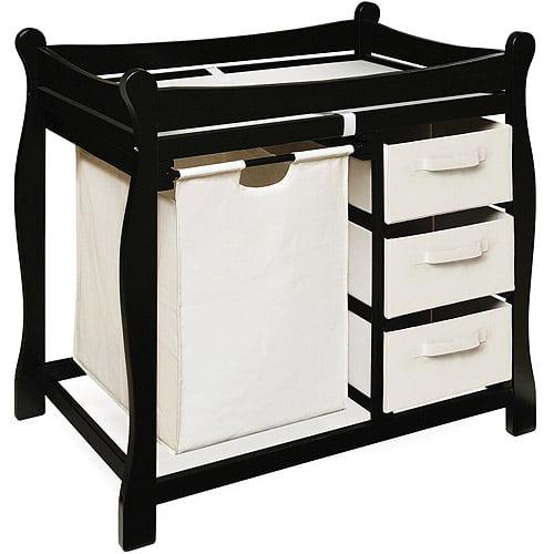 Badger Basket Changing Table with Hamper and Baskets, Black by Badger Basket