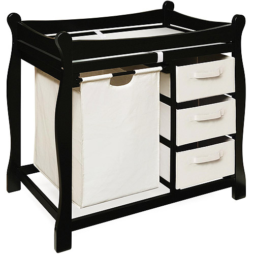 Badger Basket - Changing Table with Hamper and Baskets, Black