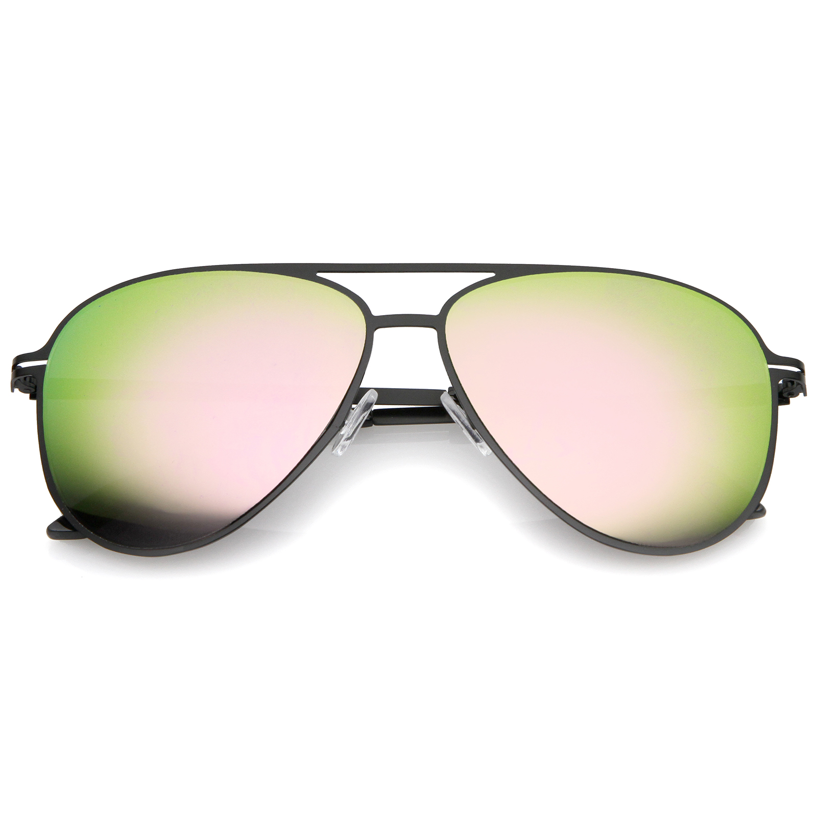 8b0715b31dd sunglassLA - Modern Thin Frame Brow Bar Colored Mirror Lens Aviator  Sunglasses 58mm - 58mm - Walmart.com
