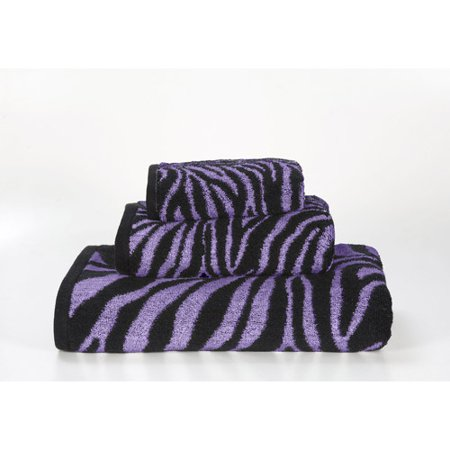 Zebra 3 Piece Jacquard Towel Set Purple Black Walmart Com