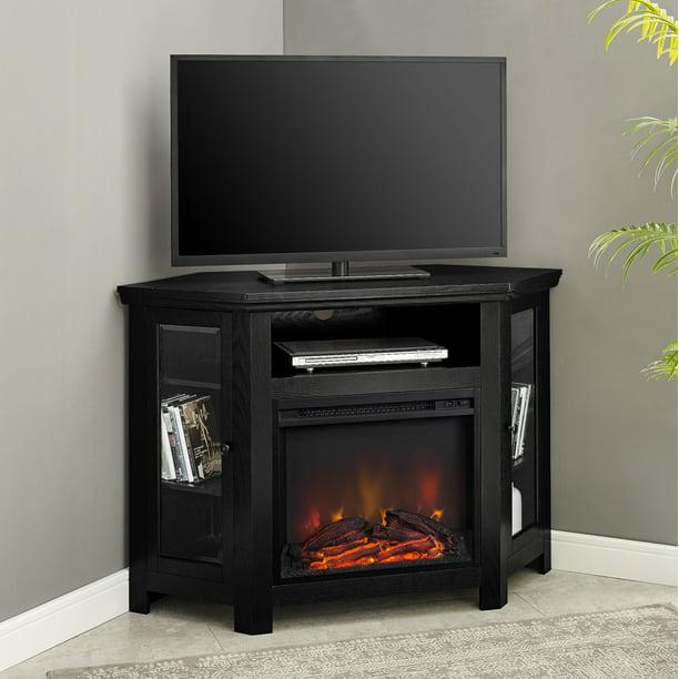 Walker Edison Black Corner Fireplace Tv, Fake Fireplace Heater Tv Stand