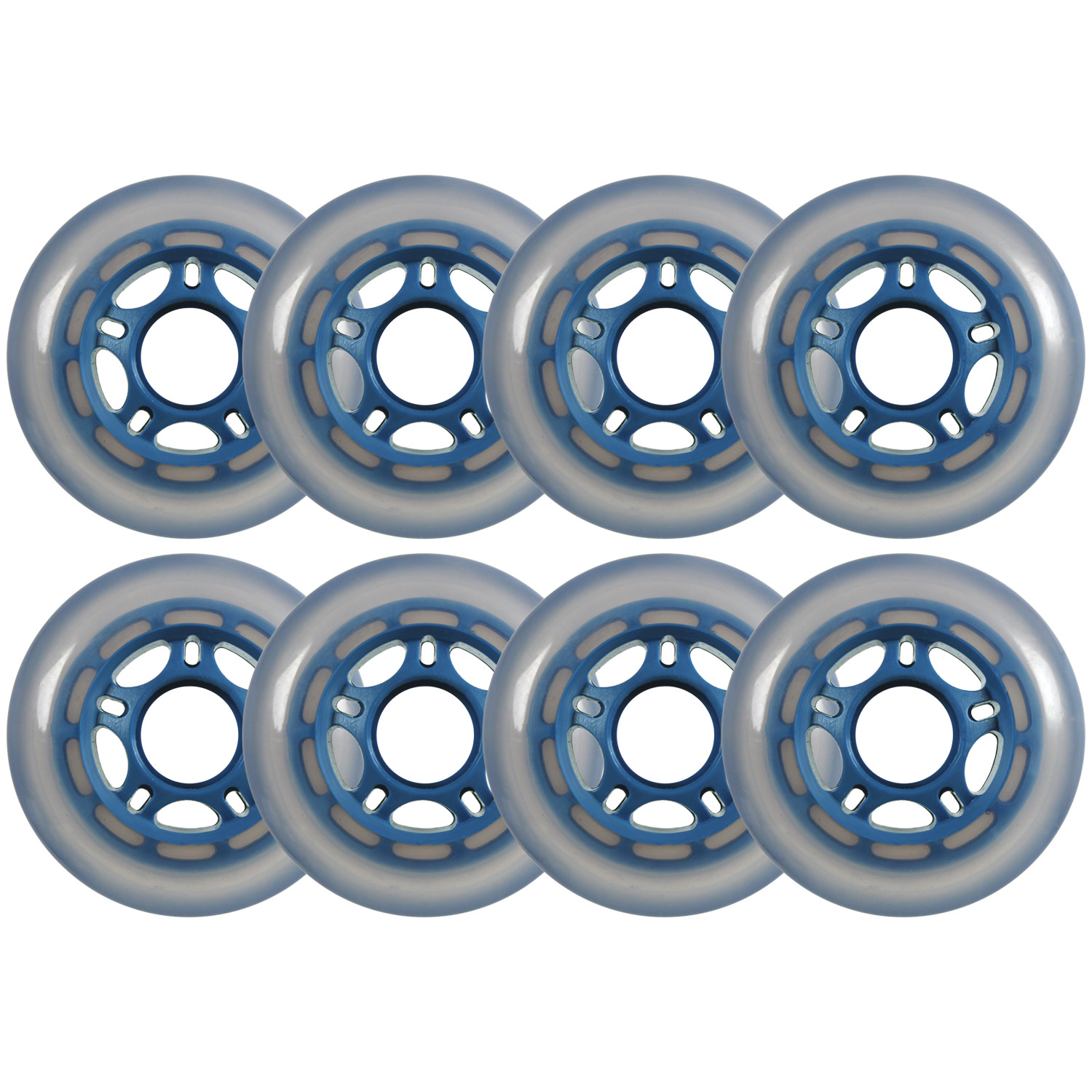 Choice Inline Skate Replacement Wheels Blue/Cloudy 76mm 86A 5-Spoke 8 Pack