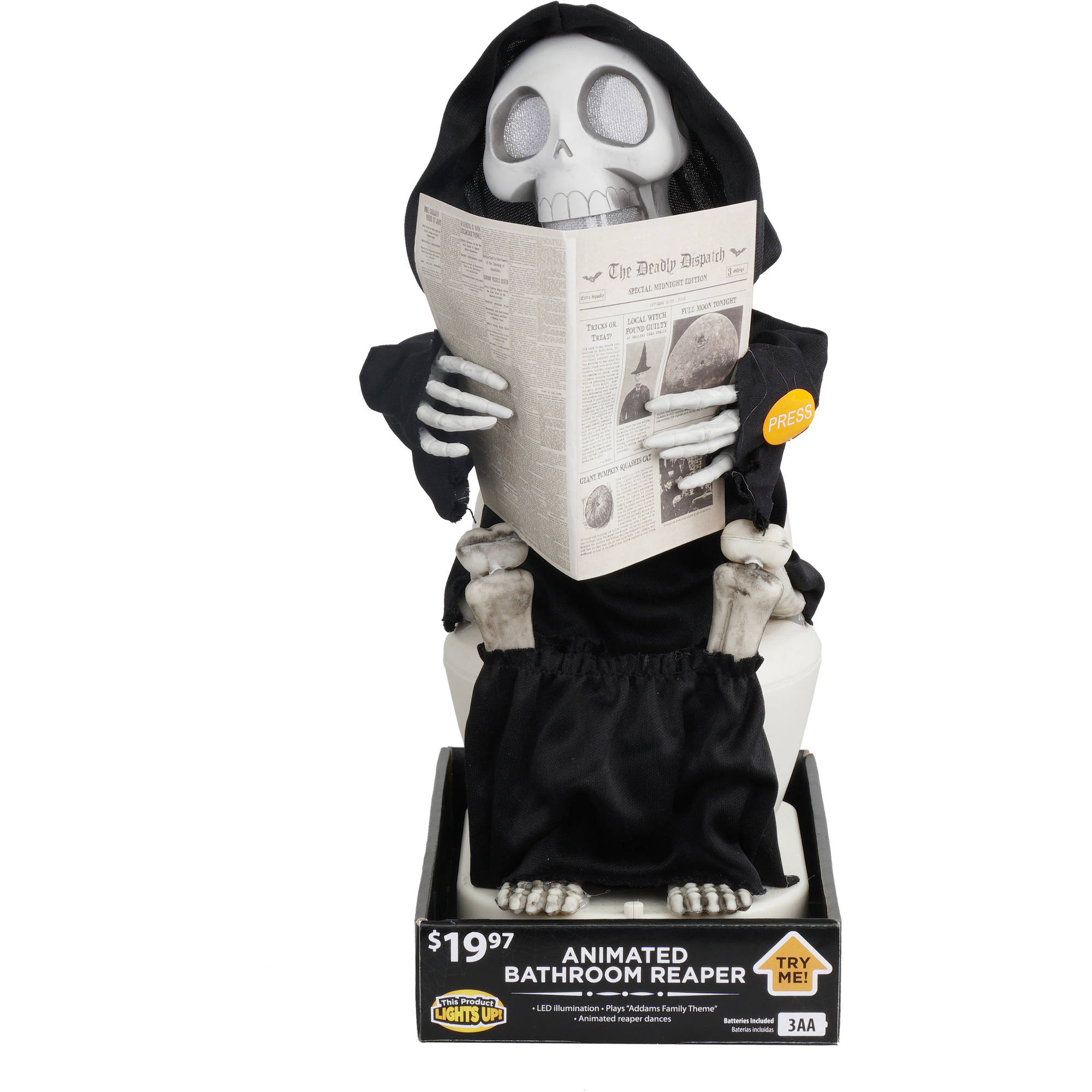 animated bathroom reaper halloween decoration walmartcom - Animated Halloween Decorations