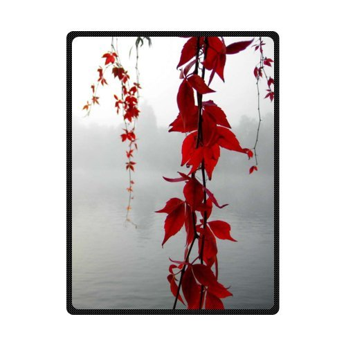 CADecor Poetry Red Leaf Hanging Over The River Fleece Blanket Throws 58x80 inches