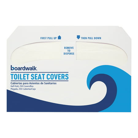 250 Double Seat (Boardwalk Premium Half-Fold Toilet Seat Covers, 250 Covers/Sleeve, 4)