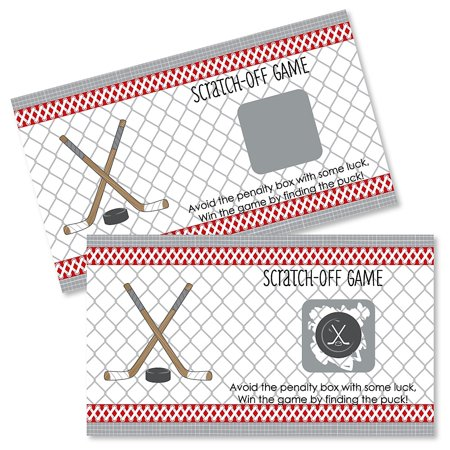 Shoots & Scores! - Hockey - Baby Shower or Birthday Party Game Scratch Off Cards - 22 Count - Hockey Birthday Party Supplies