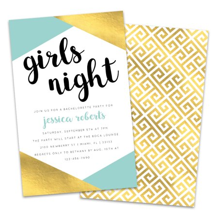 Personalized Teal & Gold Girls Night Bachelorette Party Invitations](Movie Night Invitations)