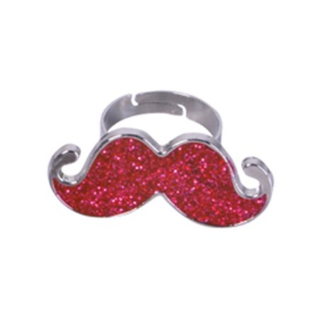 Red Silver Hipster Trendy Costume Moustache Shiny Sparkle Bling Ring - Trendy Costume Ideas