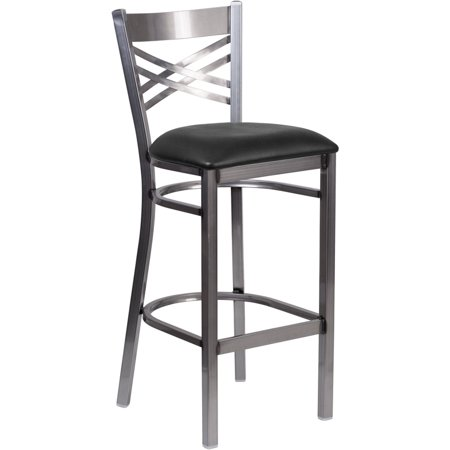 "Clear Coated Metal ""X"" Back Barstool, Black Vinyl Seat"