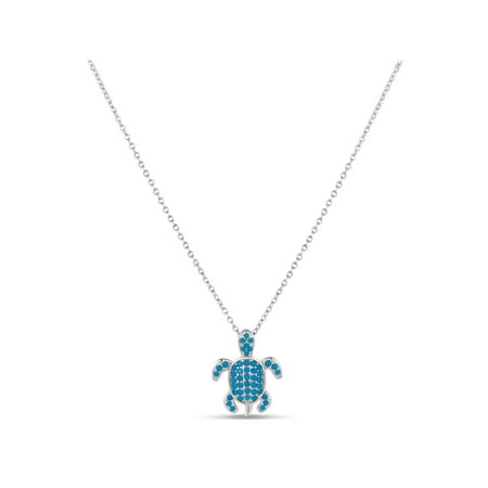 Created Turquoise and CZ Sterling Silver Rhodium-Plated Turtle Pendant, 16