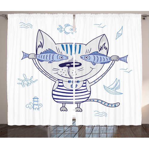 Kess InHouse East Urban Home Cat with Fish Decor Wildlife...