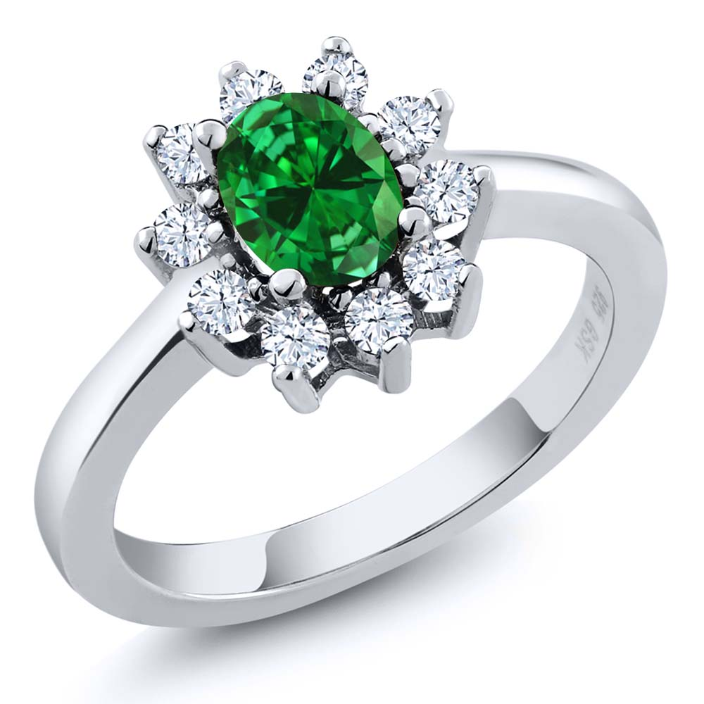 1.54 Ct Oval Green Simulated Emerald 18K White Gold Ring