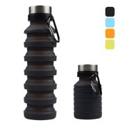 Amerteer Collapsible Water Bottle, Reuseable BPA Free Silicone Foldable Water Bottles for Travel Gym Camping Hiking, Portable Leak Proof Sports Water Bottle with Carabiner, 18oz