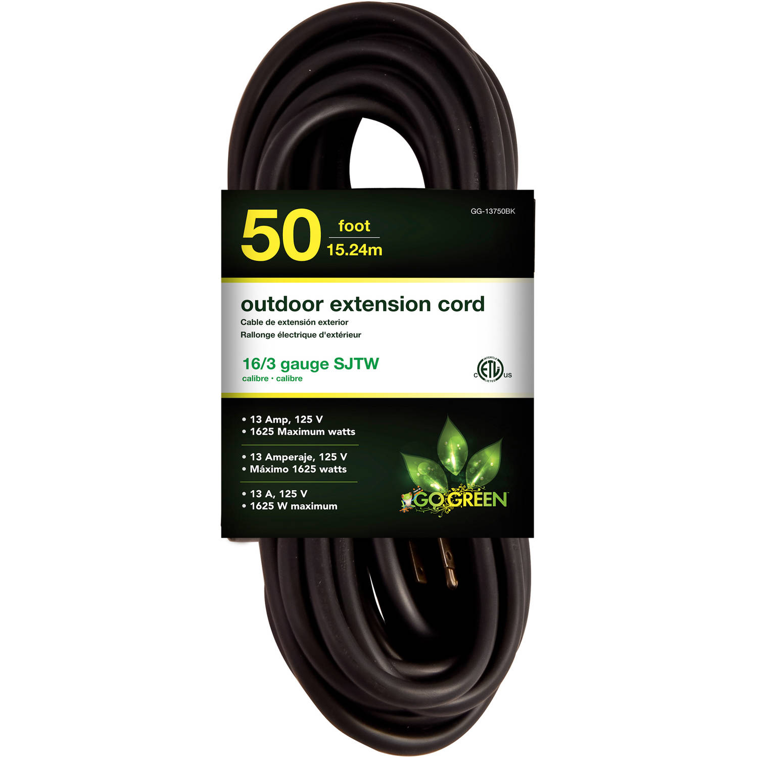 GoGreen Power 16/3 50' 13750BK Heavy-Duty Extension Cord, Black