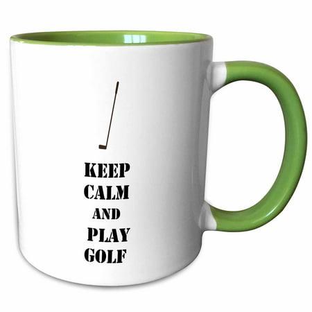 3dRose Keep Calm and Play Golf sports theme - Two Tone Green Mug, 11-ounce](Golf Theme)