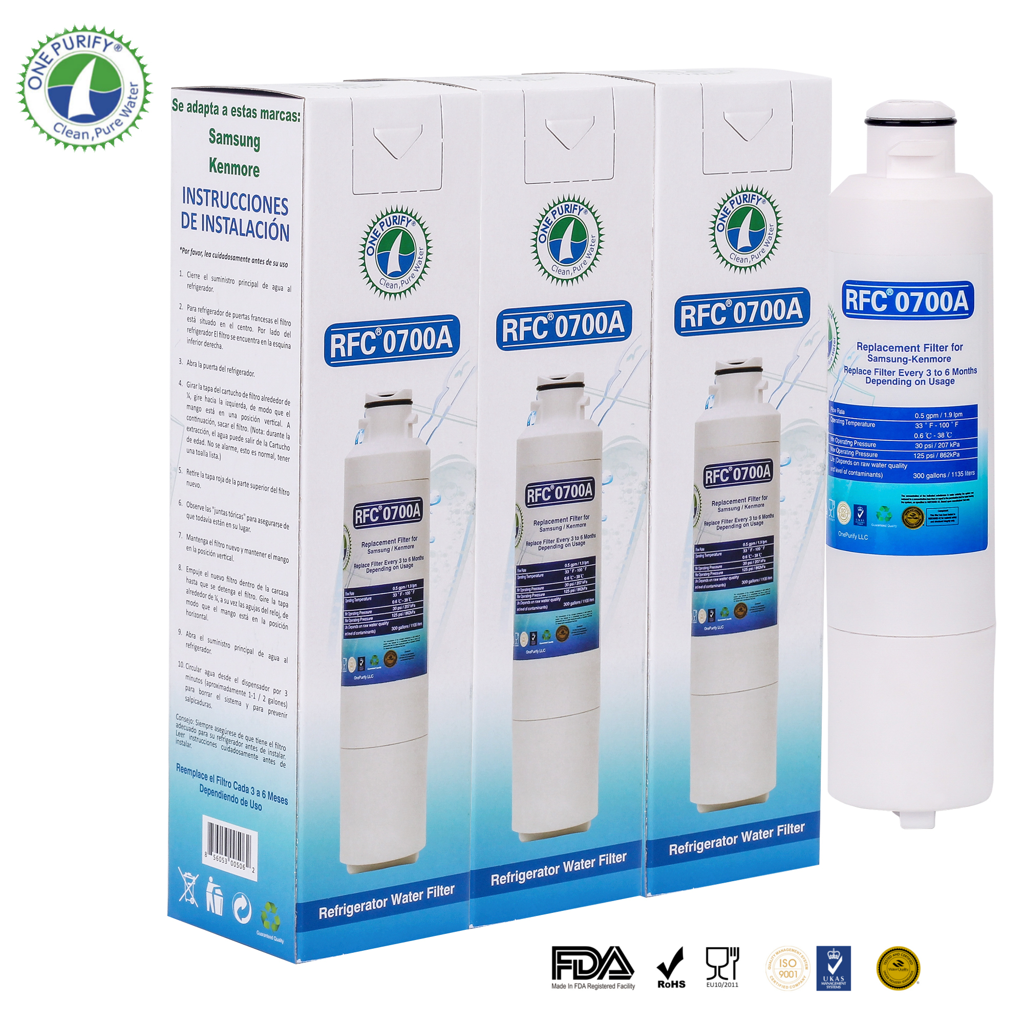 3 Pack OnePurify RFC0700A Replacement for DA29-00020B 9101 HAF-CIN EXP Refrigerator Water Filter by OnePurify