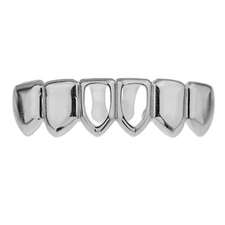 Two 2 Open Face Grillz Bottom Row Lower Teeth Silver Tone Hollow Hip Hop Grills (Face Grill)