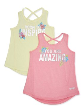 Hind Girls Criss Cross Back Graphic Active Tank Top, 2-Pack, Sizes 7-16