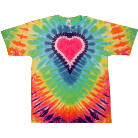 Tie Dyed Shop Big Pastel Heart Tie Dye T Shirt Short Sleeve Small