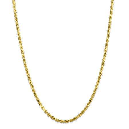 10k Yellow Gold 24in 4mm Handmade D/C Rope Necklace Chain