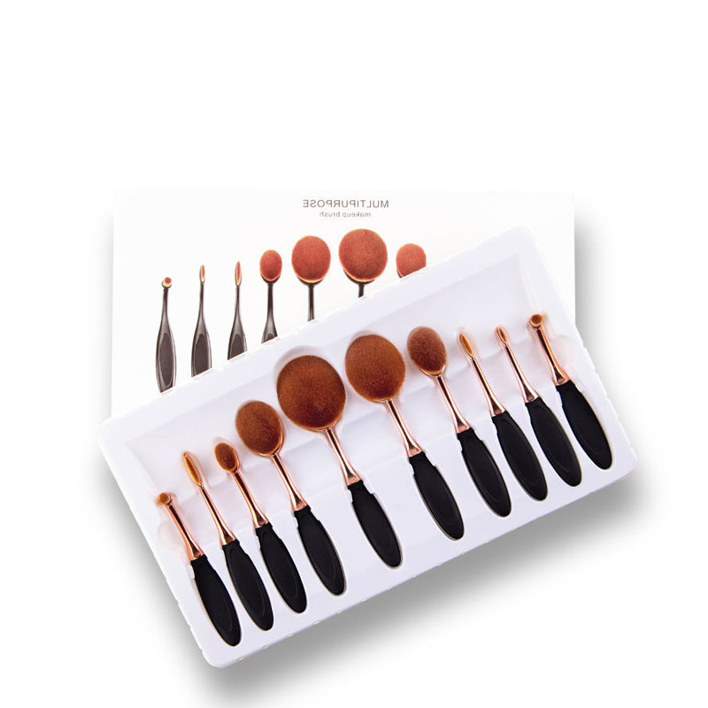 10pcs Oval Makeup Brushes Set MULTIPURPOSE Foundation Powder Cosmetics Beauty Tools Kits (with box)