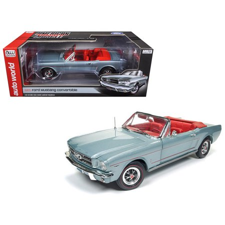 1965 Ford Mustang Convertible Silver Smoke Gray Limited Edition to 1002pcs 1/18 Diecast Model Car by Autoworld - image 1 de 1