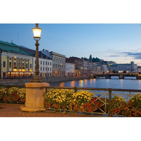 Restaurant on Sodra Hamngatan and Canal at Dusk, Gothenburg, Sweden, Scandinavia, Europe Print Wall Art By Frank Fell