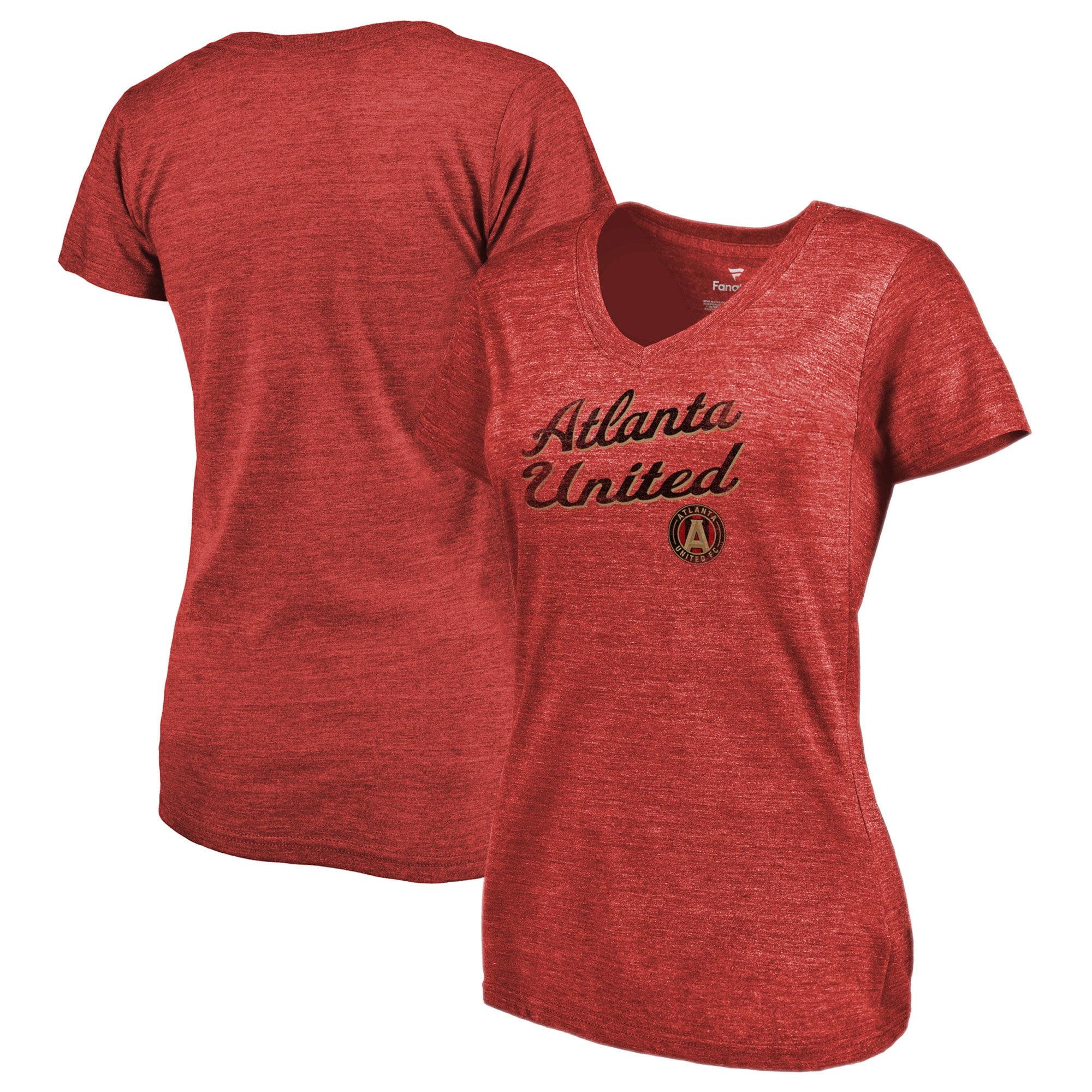 Atlanta United FC Fanatics Branded Women's Rising Script V-Neck Tri-Blend T-Shirt - Heathered Red