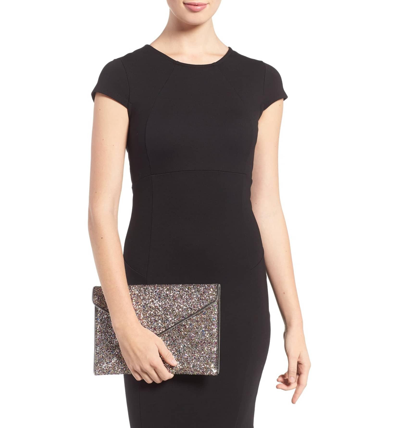 64dfbc79a Rebecca Minkoff Handbags & Purses - Rebecca Minkoff Glitter Leo Envelope  Clutch Leather Handbag - Walmart.com