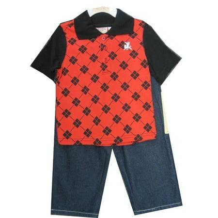 Carter's Little Boys Black Red Plaid Polo Shirt Denim 2 Pc Pants Set 2T-4T