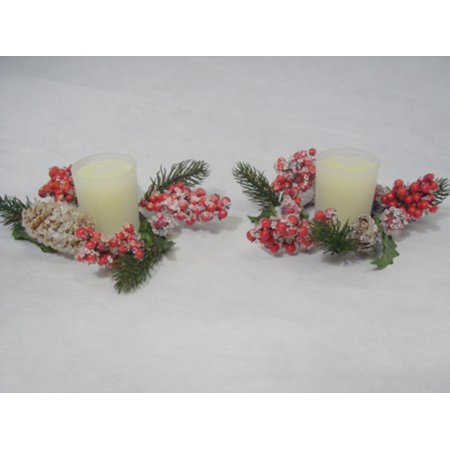 Pack of 2 Iced Pine Cone & Holly Berry Christmas Candle Rings with Candles