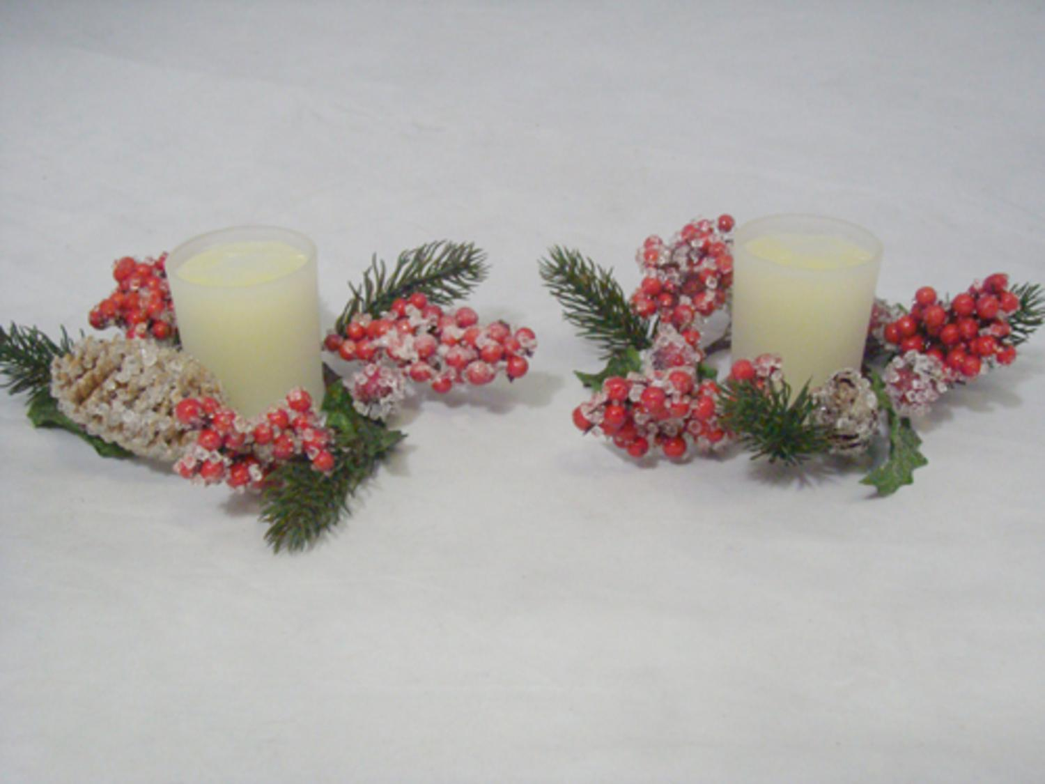 pack of 2 iced pine cone u0026 holly berry christmas candle rings with candles