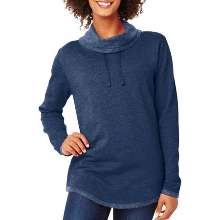 Hanes Women's Lightweight Fleece Cowl Neck Top - Walmart.com