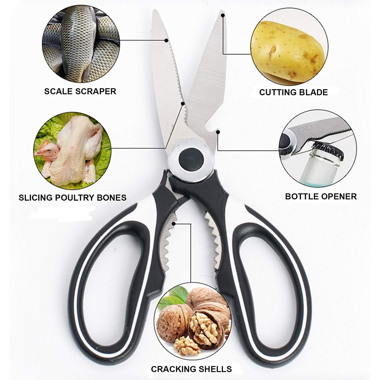 kitchen scissors black, ultra sharp multi-functional