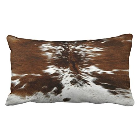 WinHome Decorative Decorative Tri Color Brown Cowhide Print Throw Pillow Covers Size 20x30 inches Two Side