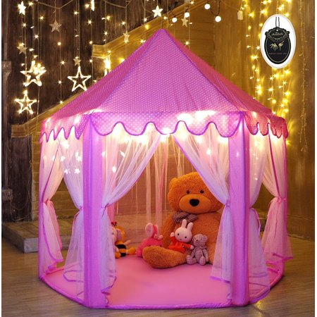 MonoBeach Princess Tent for Girls Indoor and Outdoor Hexagon Play Castle House with 20 Feet Decorative LED Star Lights, 55 x 53 inches, - Princess Castles For Girls