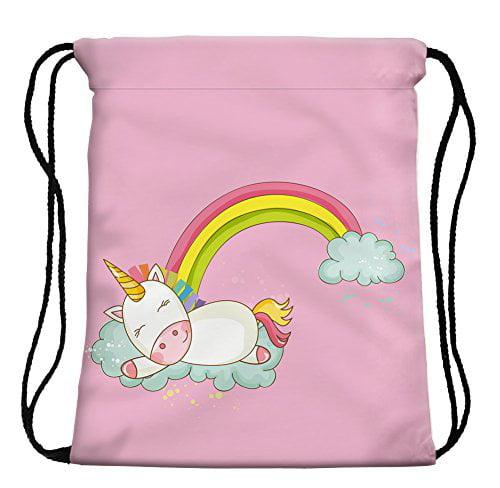 StylesILove My Unicorn World Graphic Print Gym Girls Womens Drawstring Backpack (Sleepy Pink)