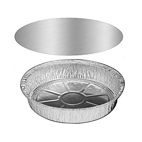Pactiv 7ALC, 7-Inch Round Aluminum Foil Pans Combo with Lids, Take Out Disposable Tin Plates with Lids for Pies Tart Quiche (50)