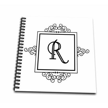 Monogram Memory (3dRose Initial letter R personal monogrammed fancy black and white typography elegant stylish personalized - Memory Book, 12 by 12-inch )