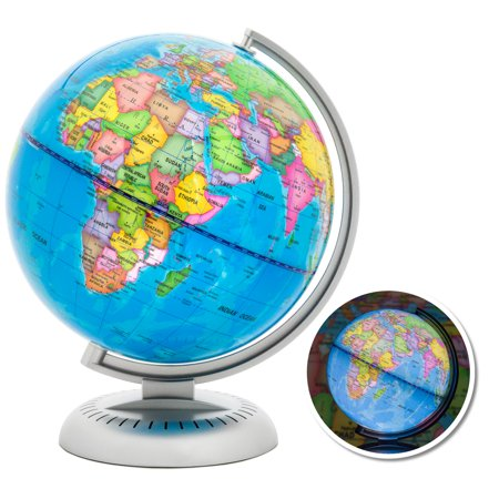 Illuminated Desk Globe - Best Choice Products 8in LED Light Illuminated World Globe w/ Day & Night View - Multicolor