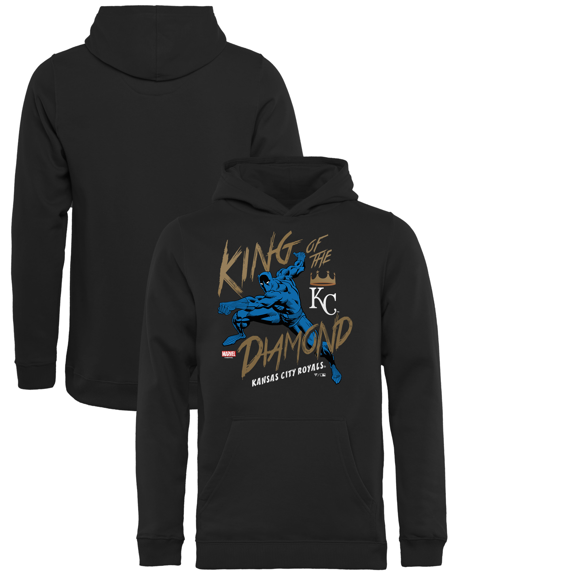 Kansas City Royals Fanatics Branded Youth MLB Marvel Black Panther King of the Diamond Pullover Hoodie - Black