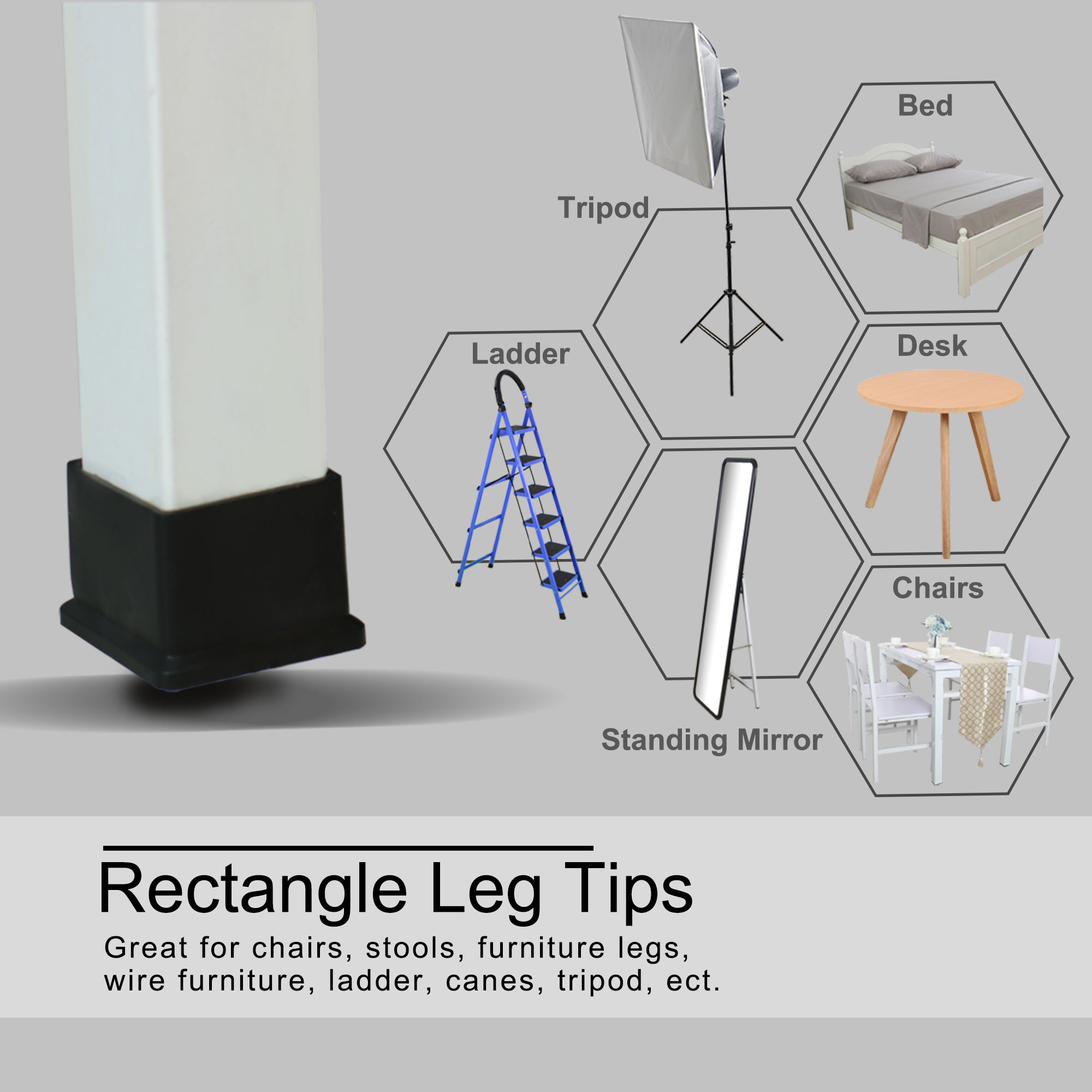 "Desk Table Leg Caps End Tip Home Furniture Protector 8pcs 1.18""x1.18"" (30x30mm) - image 5 of 7"