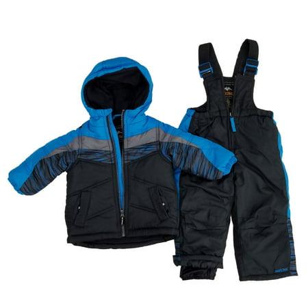 Infant Boys 2-Piece Blue Gray Black Insulated Coat & Snow Bibs Snowsuit Set