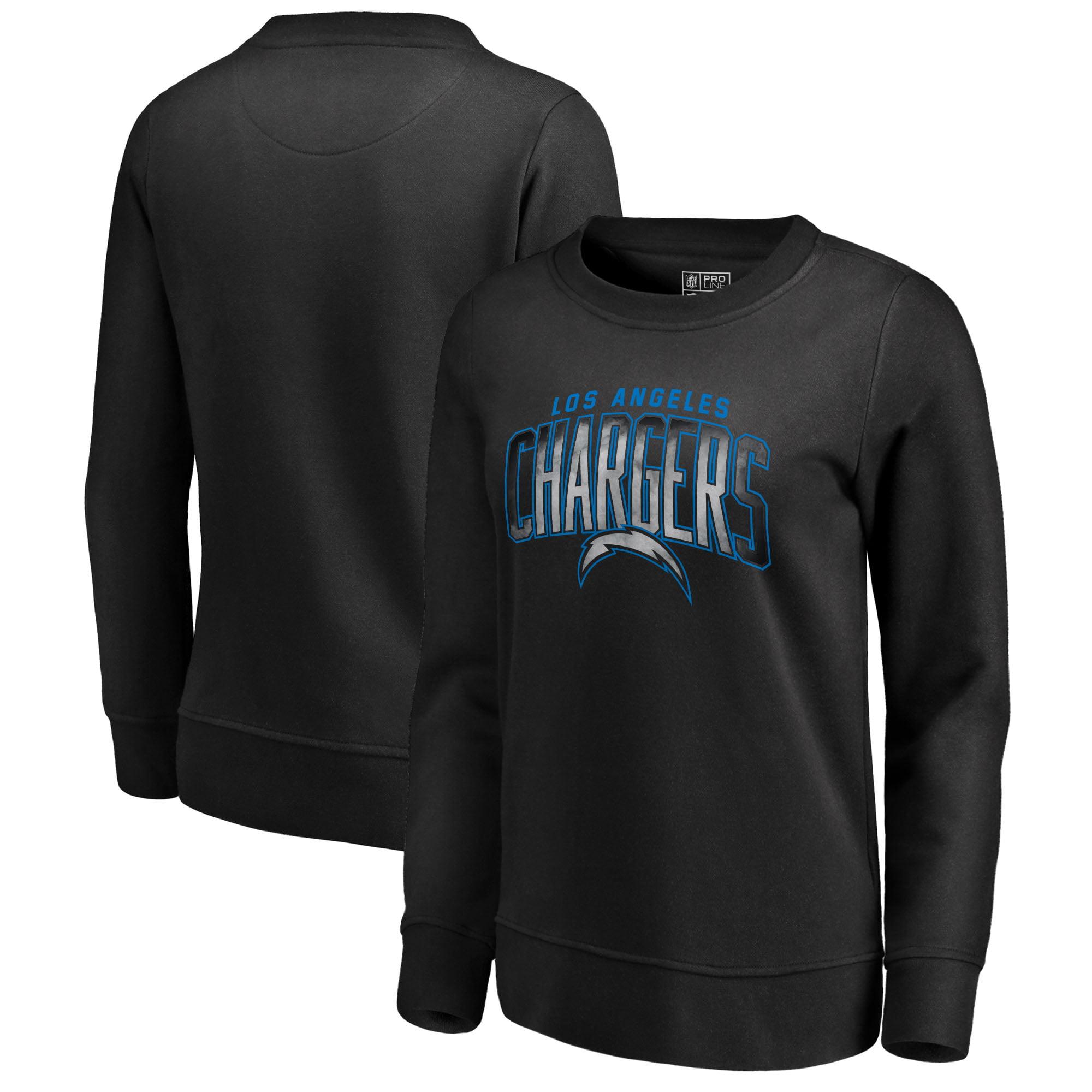 Los Angeles Chargers NFL Pro Line by Fanatics Branded Women's Arch Smoke Crew Neck Fleece Sweatshirt - Black
