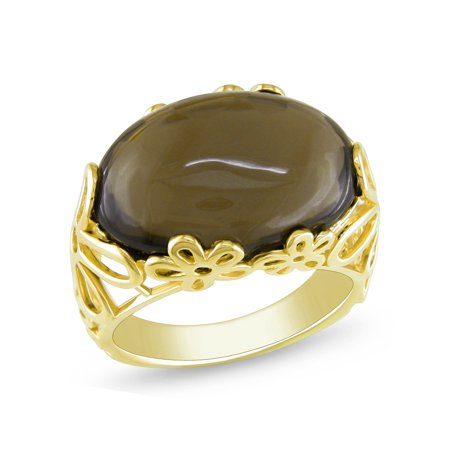 Tangelo 11 Carat T.G.W. Smokey Quartz Yellow-Plated Sterling Silver Cocktail Ring