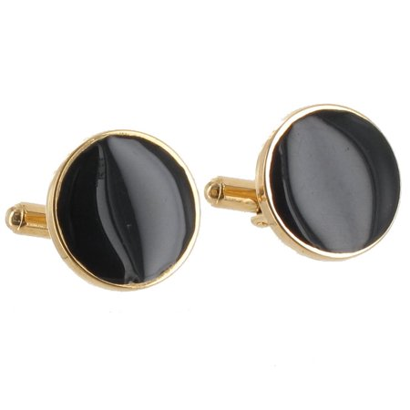 Gold Tone Stud Cufflinks - Black Epoxy Gold Tone Classic Mens Cufflinks Gift Boxed Made in the USA