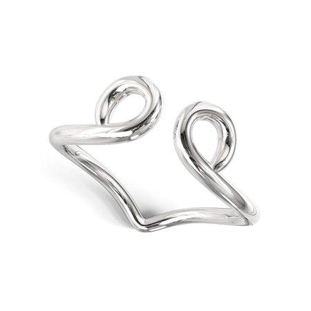 Sterling Silver Split Double Swirl Adjustable Toe Band Ring (Adjustable Swirl)