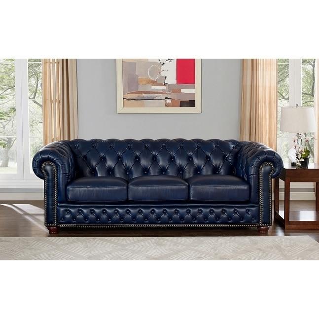 Coja Tuscon Blue Leather Tufted Sofa Walmart Com